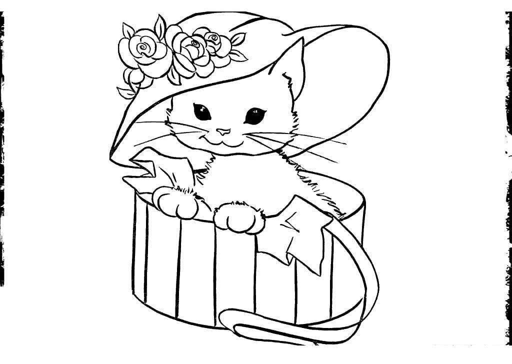 Free Black Cat In Hat Coloring Pages printable