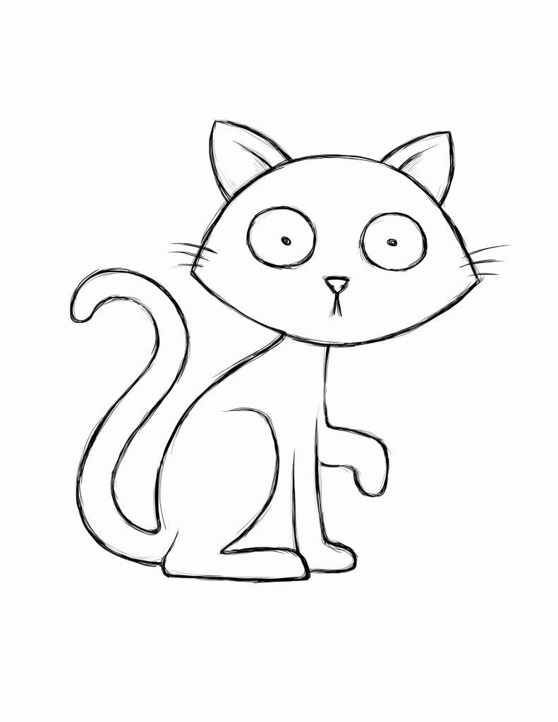 Free Black Cat Outline Coloring Pages printable