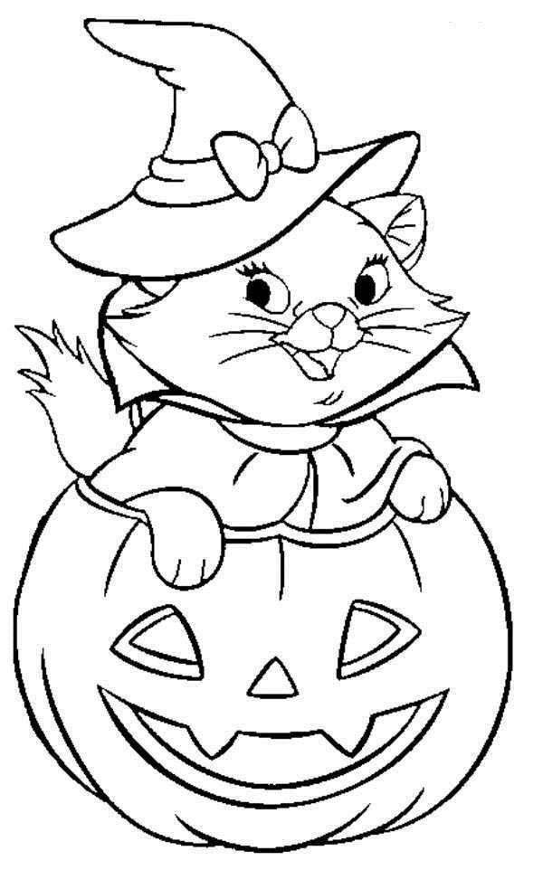 Black Cat Witch Coloring Pages - Free Printable Coloring Pages