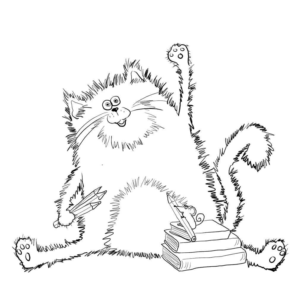 Free Black Cat With Books Coloring Pages printable
