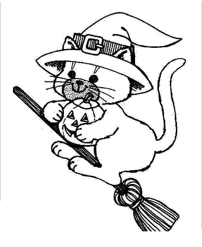 Black Cat With Broom Coloring Pages Free Printable