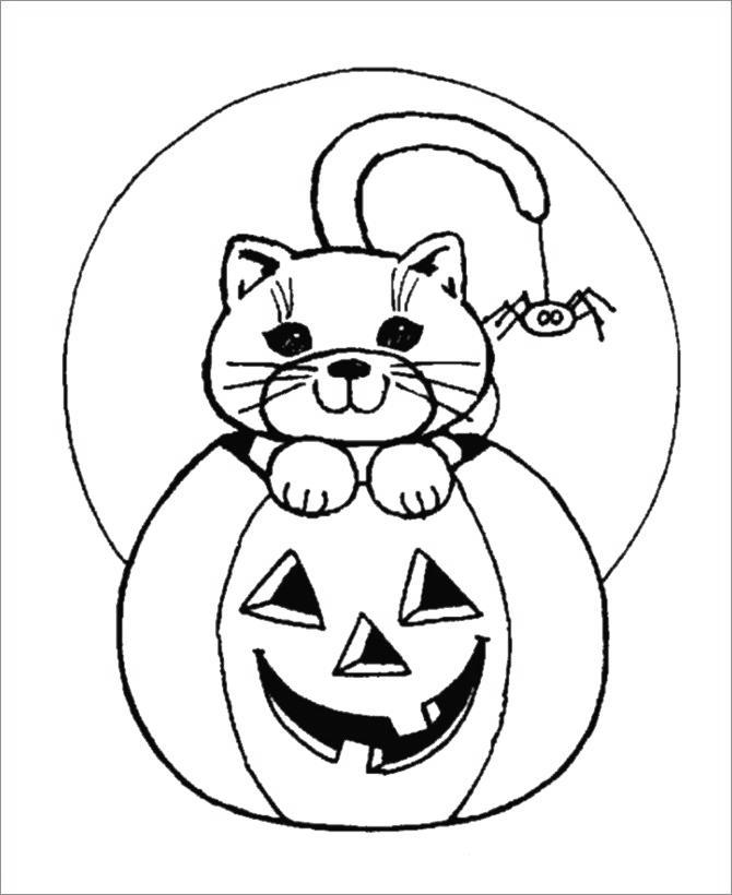 Free Black Cat in Pumpkin Coloring Pages printable