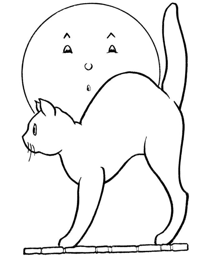 Free Cartoon Black Cat Coloring Pages printable