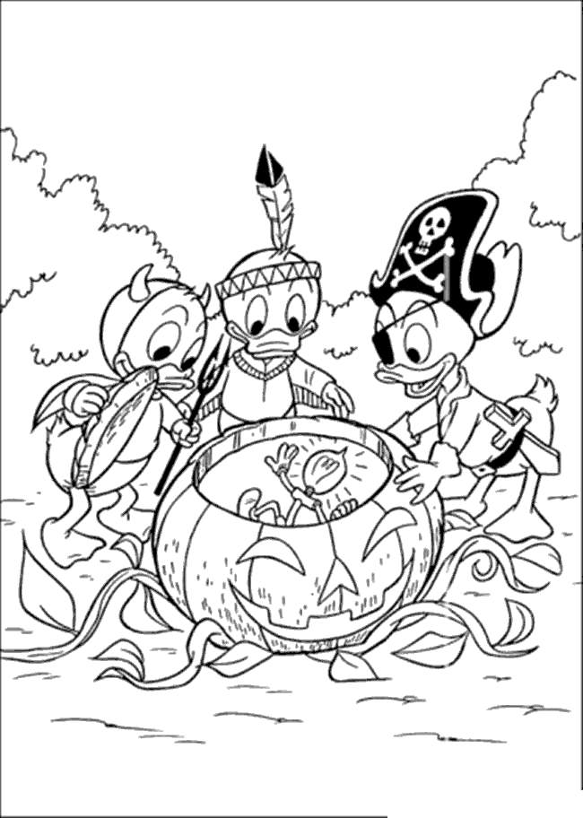 Free Disney Halloween Coloring Pages Donald Duck printable