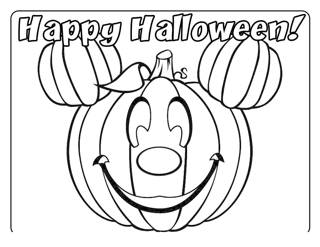 Free Disney Halloween Coloring Pages Mickey Mouse Pumpkin printable
