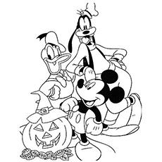 Free Disney Halloween Coloring Pages Mickey Mouse and Friends printable