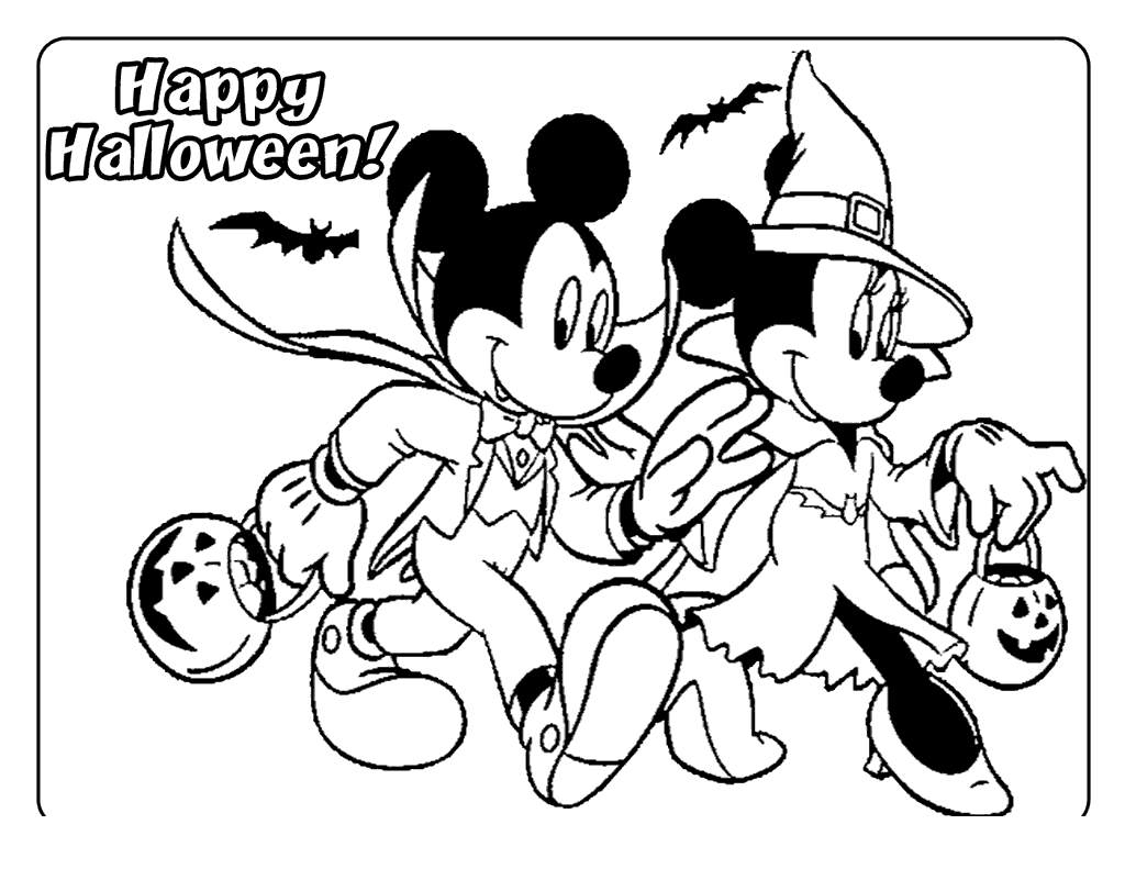 Free Disney Halloween Coloring Pages Mickey Mouse and Minnie Mouse printable