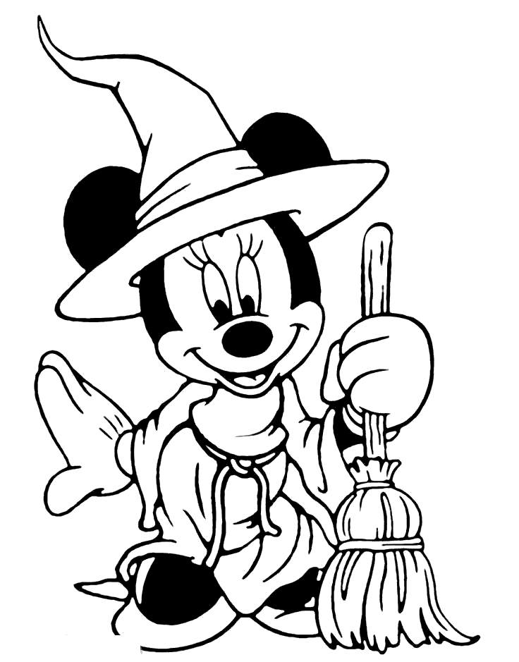 Free Disney Halloween Coloring Pages Minnei As Witch printable