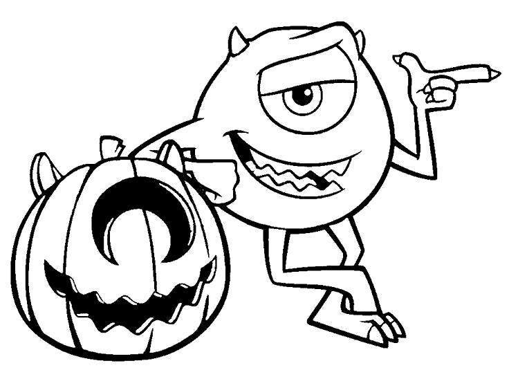 Free Disney Halloween Coloring Pages Monster printable