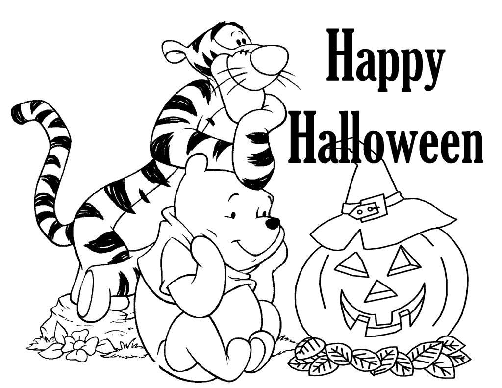 Free Disney Halloween Coloring Pages Tigger And Winnie The Pool printable