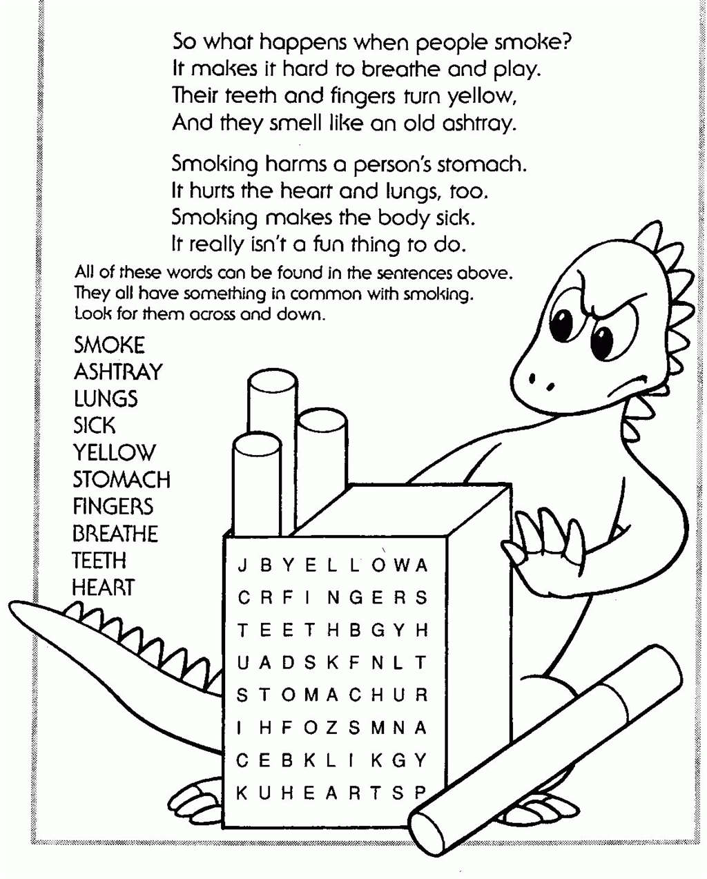 Drug Free Coloring Pages Word Search