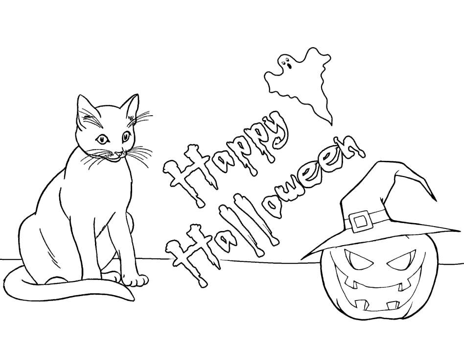 Ghost And Black Cat Coloring Pages Free Printable