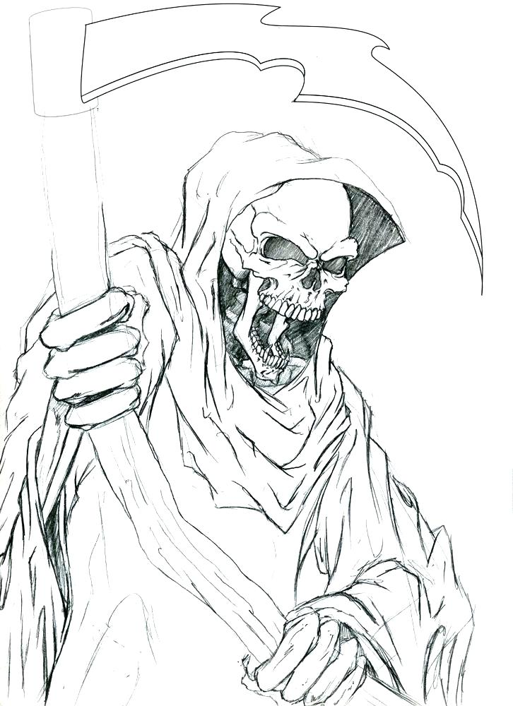 Free Grim Reaper Coloring Pages Hand Drawing printable