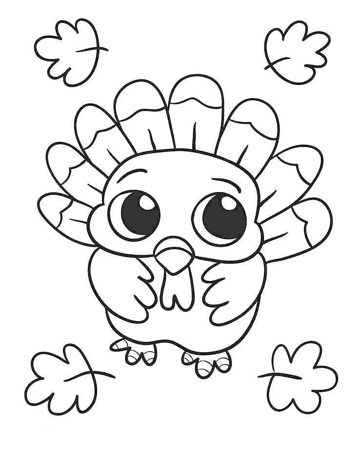 November Coloring Pages Baby Turkey - Free Printable ...
