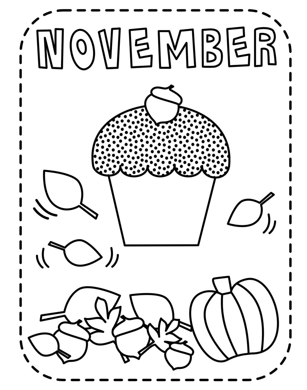 Free November Coloring Pages Cupcake printable