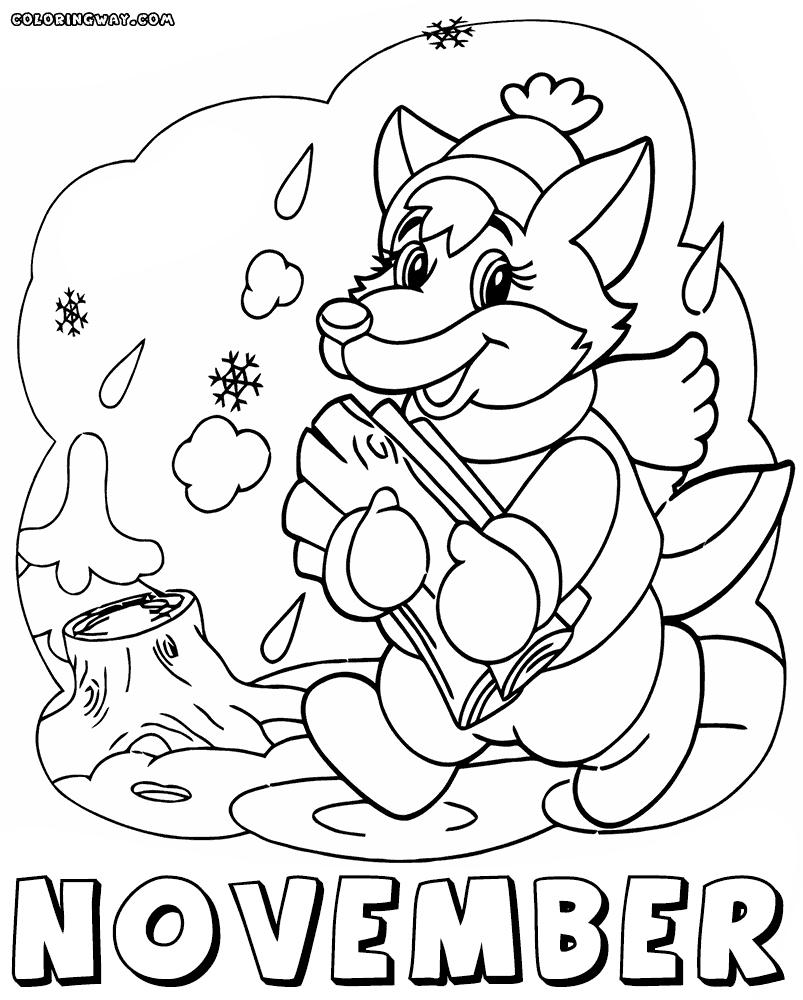 Free November Coloring Pages Fox printable