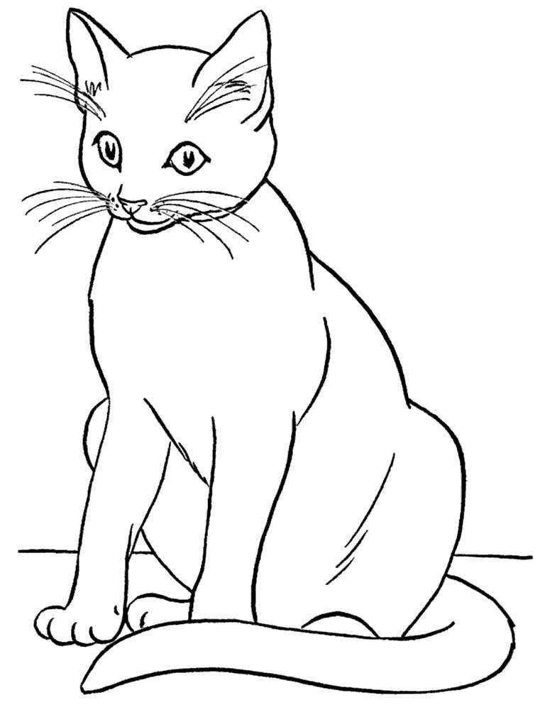 Free Realistic Black Cat Coloring Pages printable
