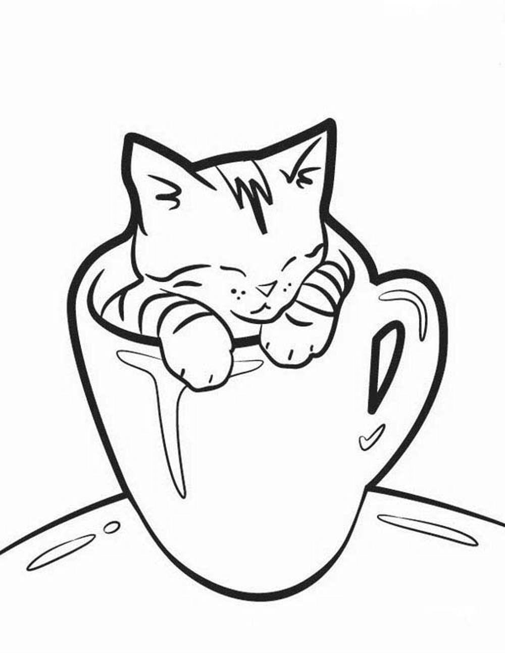 Free Small Black Cat Coloring Pages printable