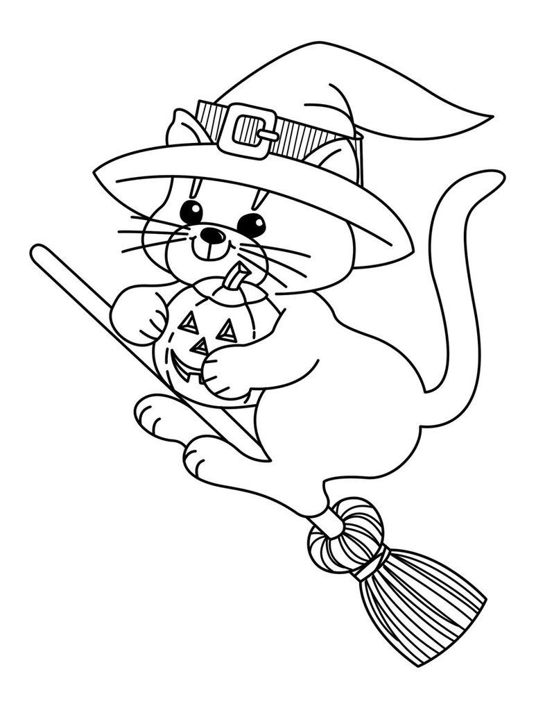 Free Spooky Cat Coloring Pages printable
