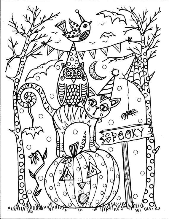 Free Spooky Coloring Pages Animals printable