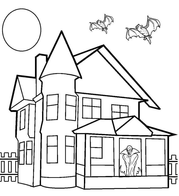 Free Spooky Coloring Pages Bats And House printable