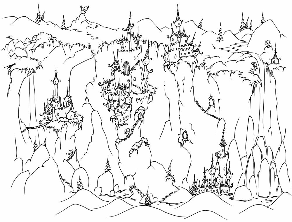 Free Spooky Coloring Pages Castles On Cliffs printable