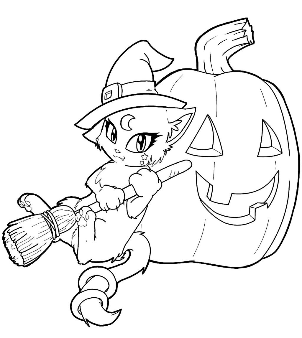 Free Spooky Coloring Pages Cat Witch printable