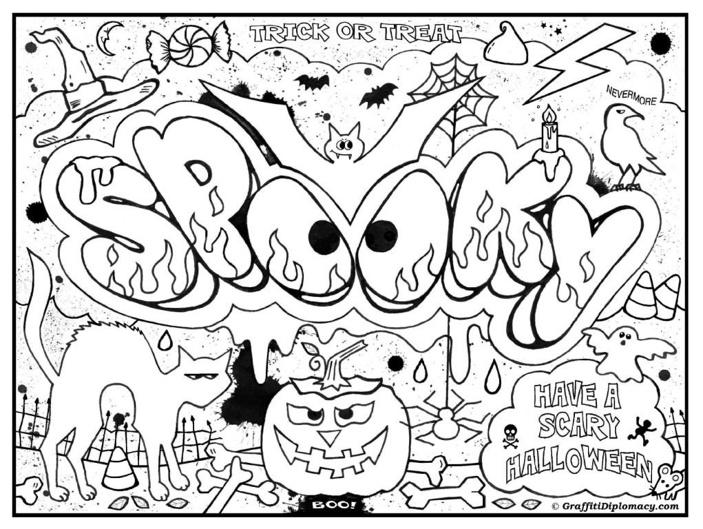 Free Spooky Coloring Pages Halloween Graffiti printable