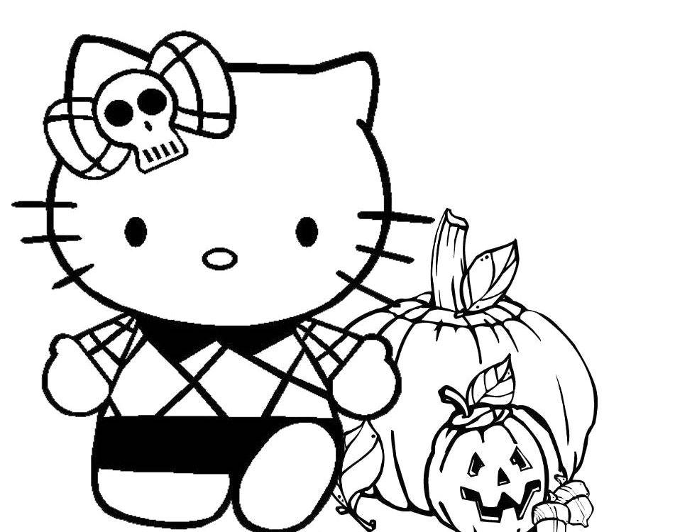 Free Spooky Coloring Pages Halloween Hello Kitty printable