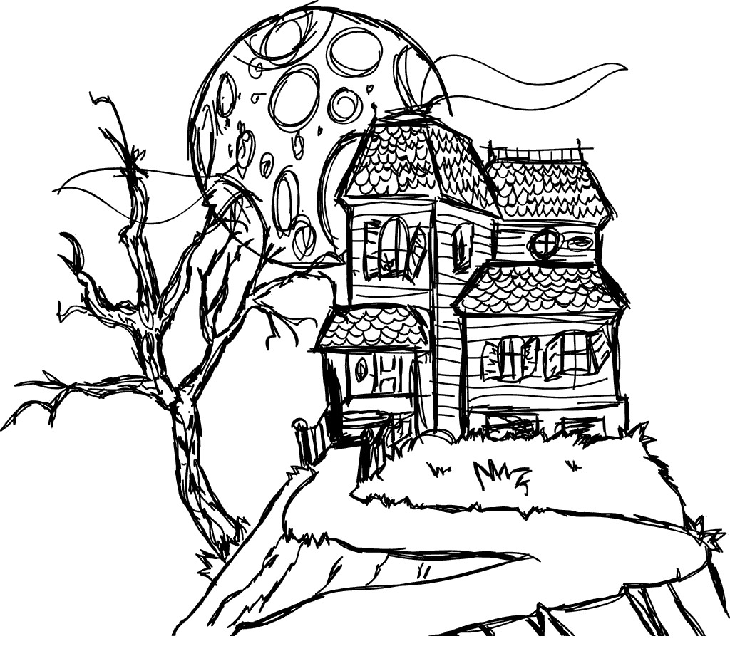 Free Spooky Coloring Pages Haunted House On The Hill printable