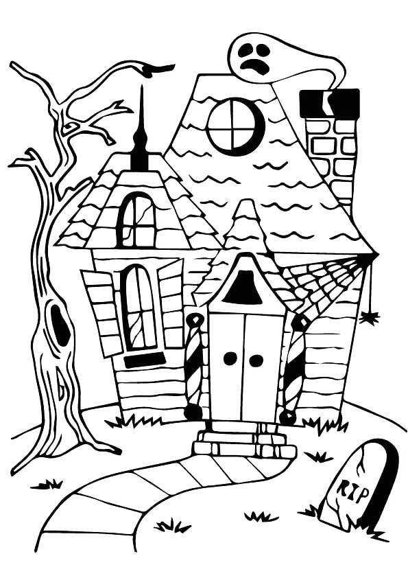 Free Spooky Coloring Pages House And Tomb printable