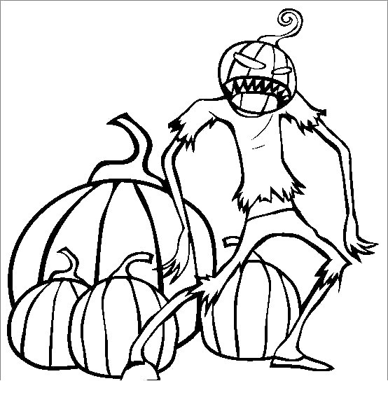 Free Spooky Coloring Pages Pumpkin Monster printable