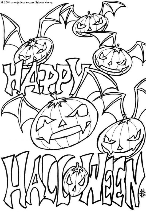 Free Spooky Coloring Pages Scary Pumpkins printable