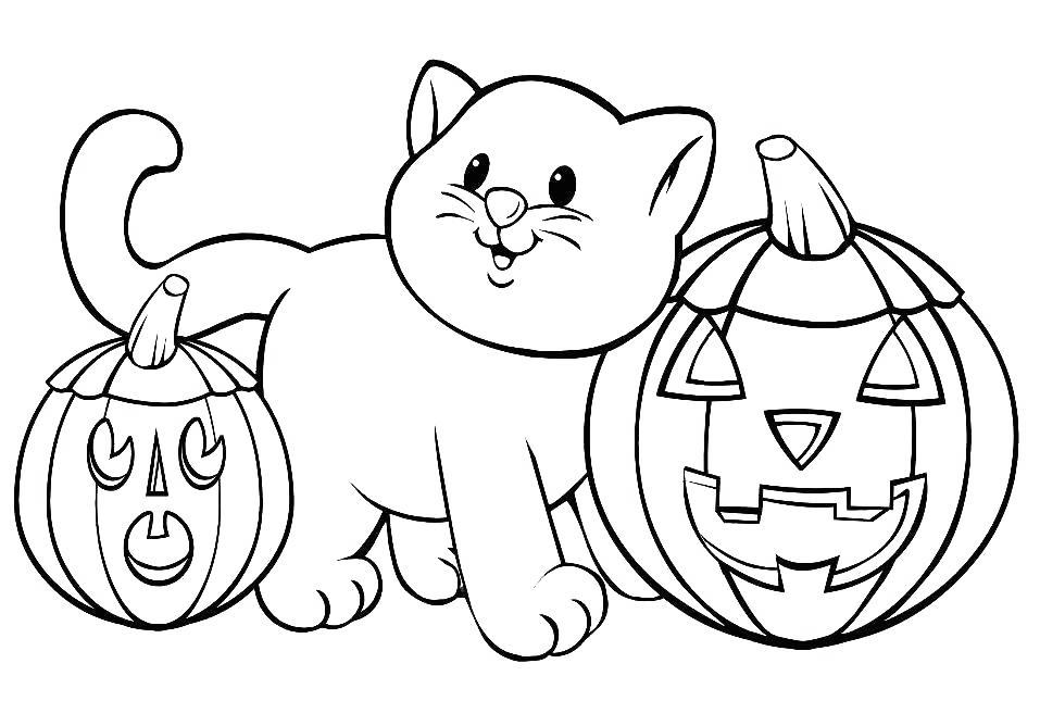 Free Spooky Coloring Pages Two Pumpkins printable