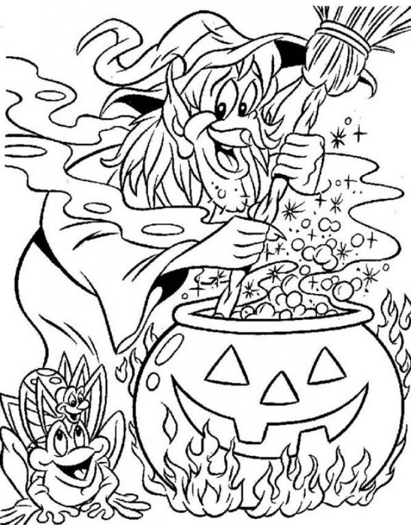 Free Spooky Coloring Pages Witch And Frog printable