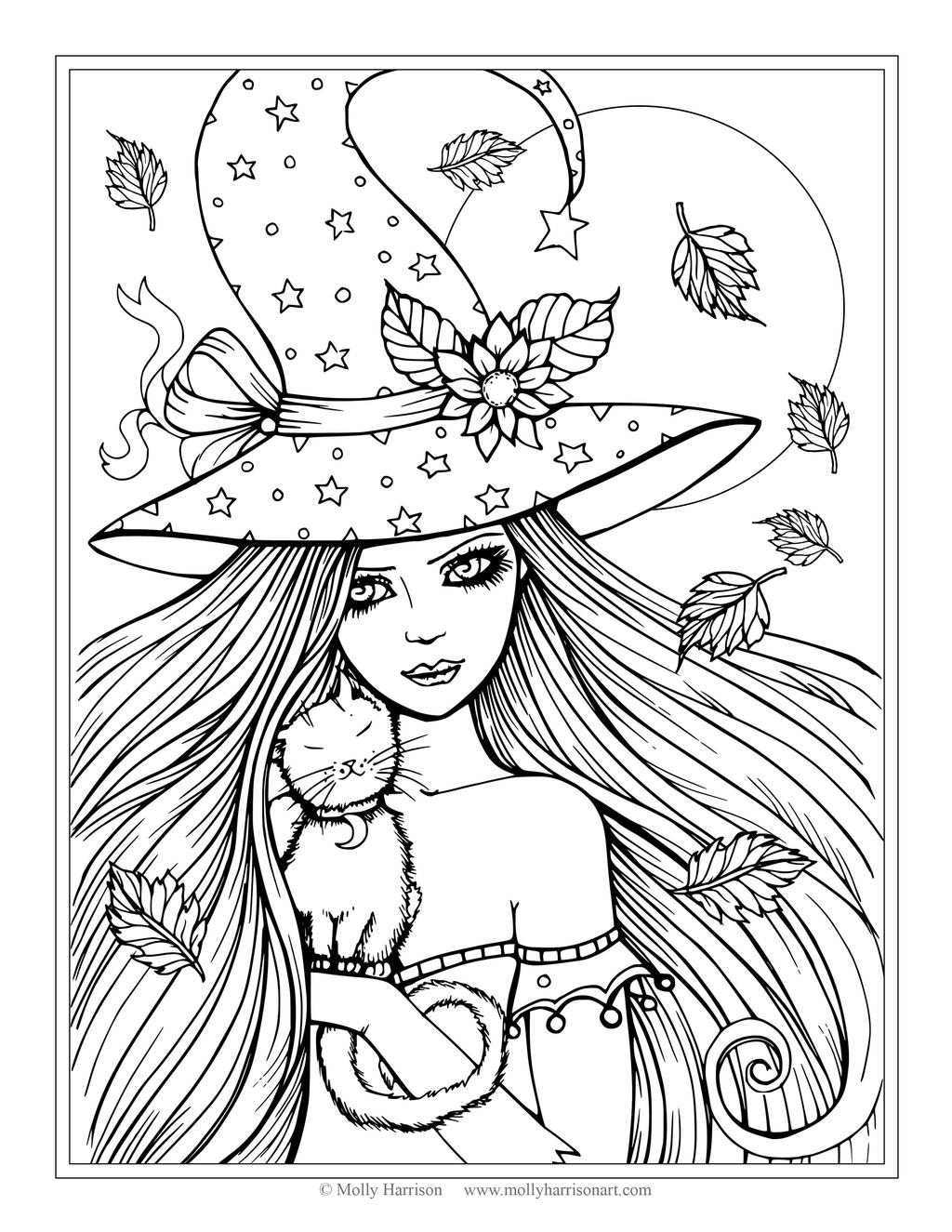 Free Spooky Coloring Pages Witch Girl printable