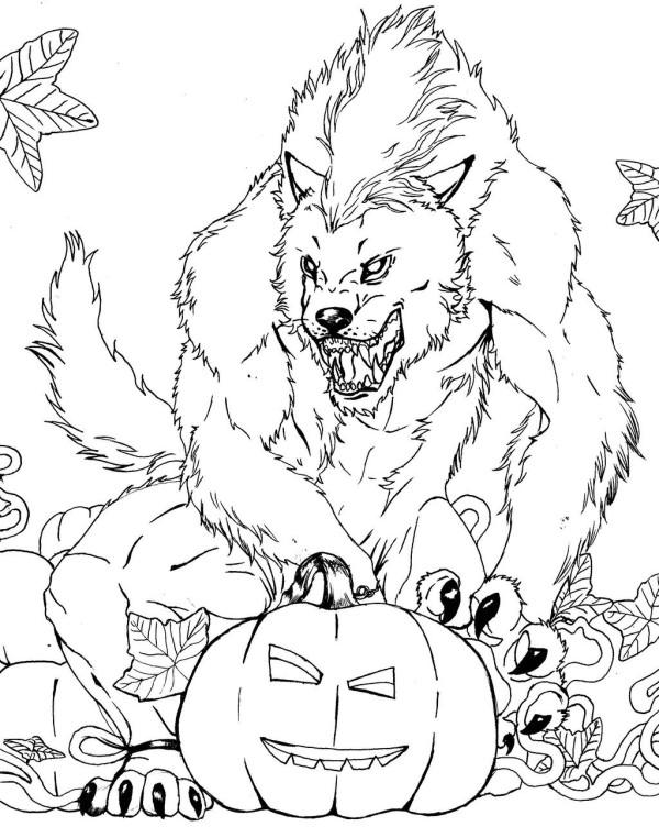Free Spooky Coloring Pages Wolf And Pumpkin printable