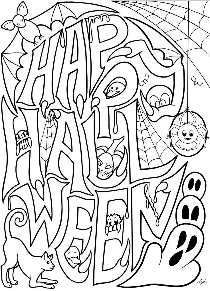Free Spooky Doodles Coloring Pages printable