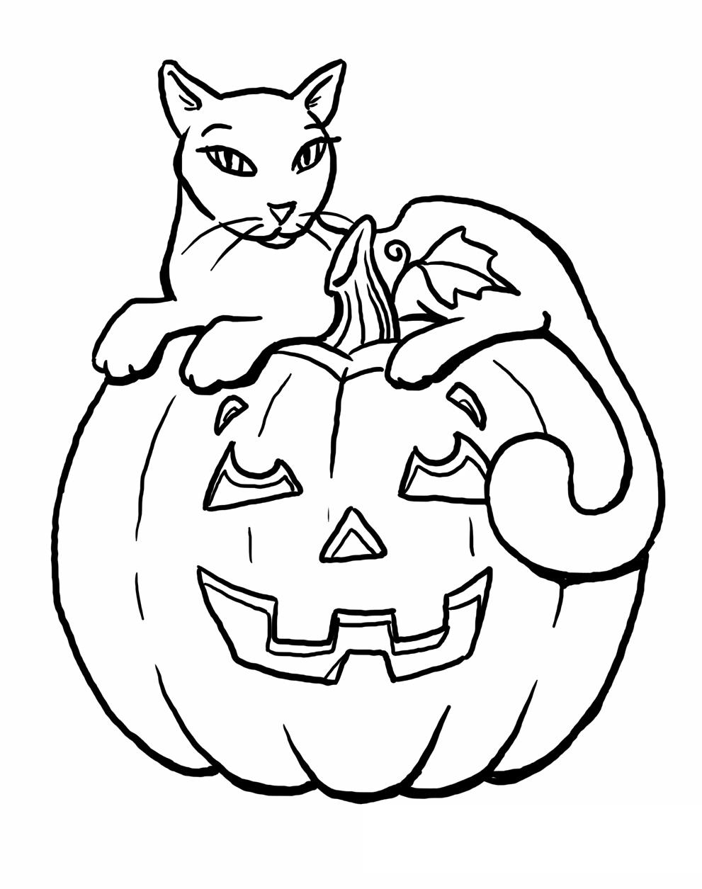 Free Spooky Pumpkin and Cat Coloring Pages printable
