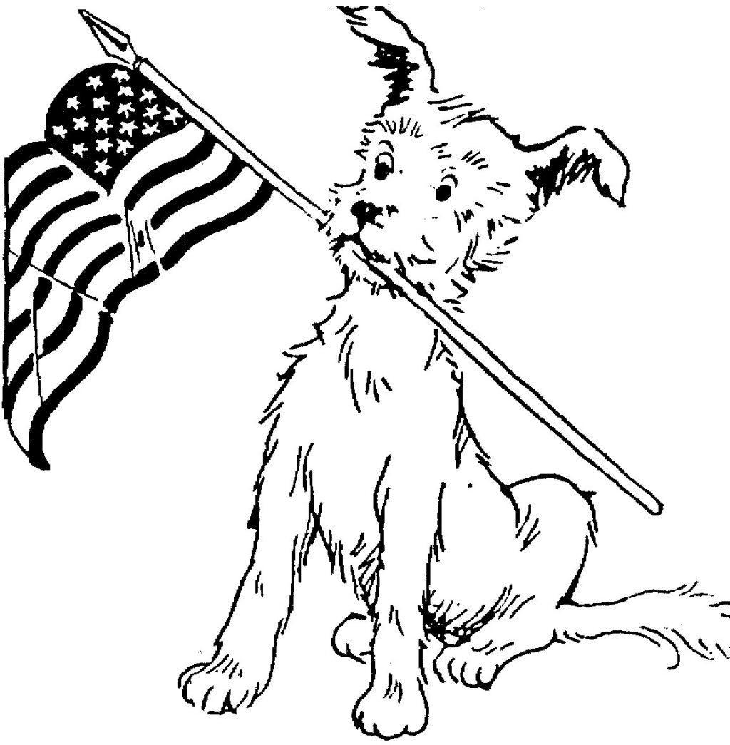 Veterans Day Coloring Pages Dog and Flag Free Printable