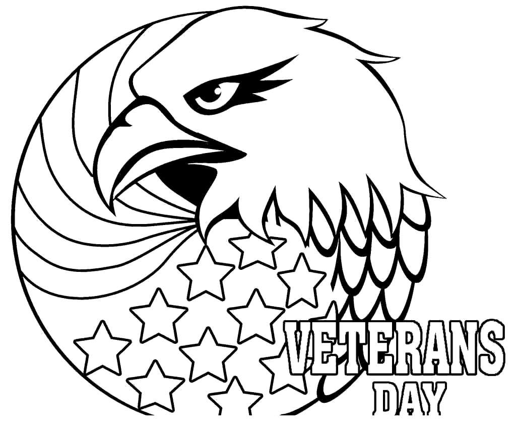 Veterans Day Coloring Pages Eagle Flag Free Printable