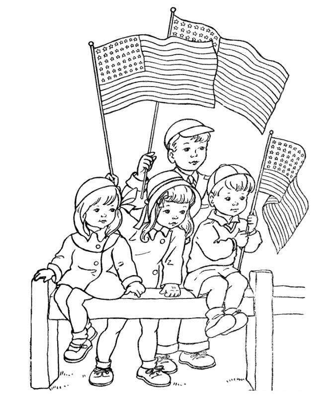 Veterans Day Coloring Pages Kids with Flags Free