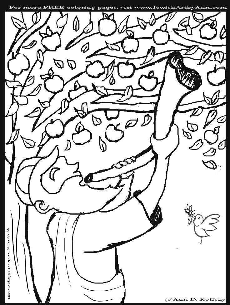 Free Yom Kippur Coloring Paegs Apple Tree printable