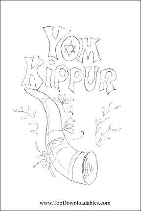 Free Yom Kippur Coloring Paegs with Flowers printable