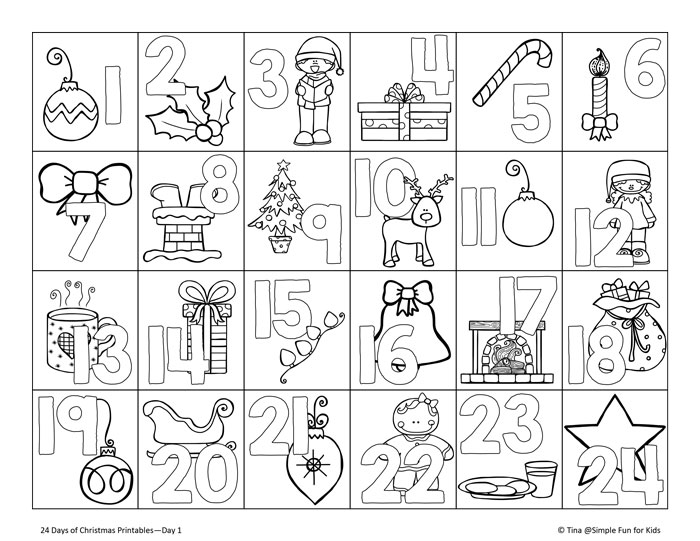 Free Advent Calendar Coloring Pages printable