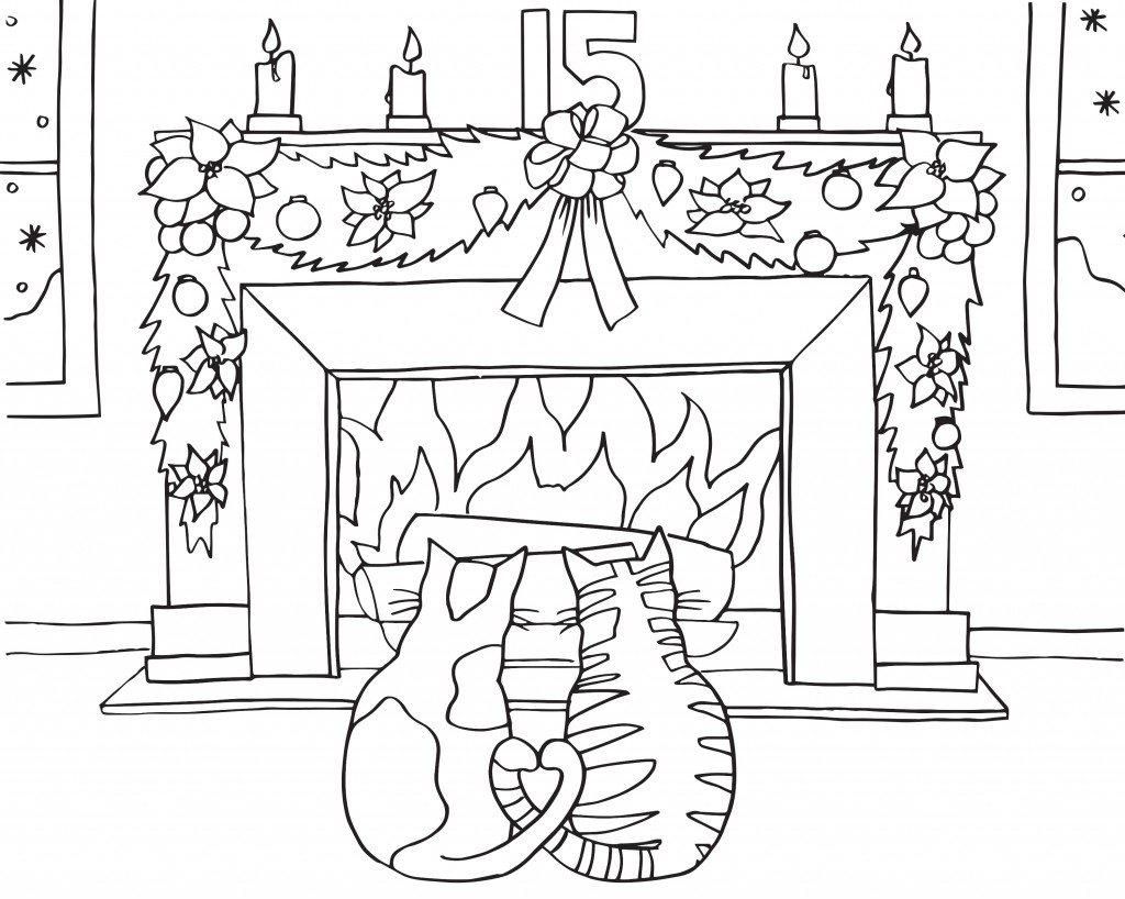 Free Advent Coloring Pages Cats and Fireplace printable