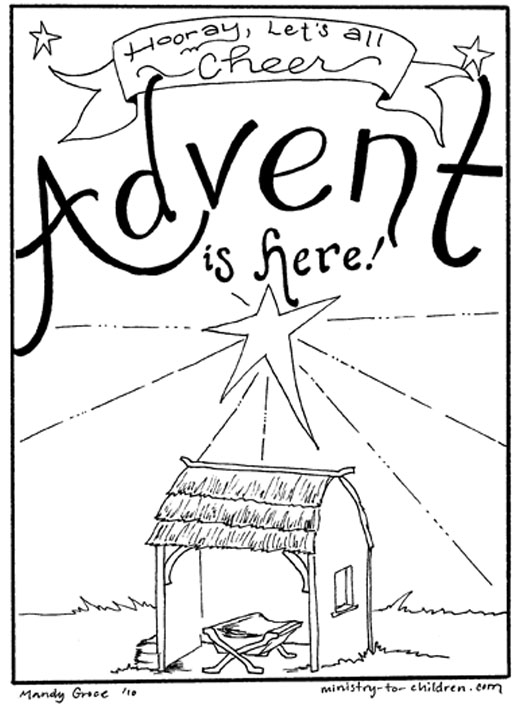 Free Advent is Here Coloring Pages printable