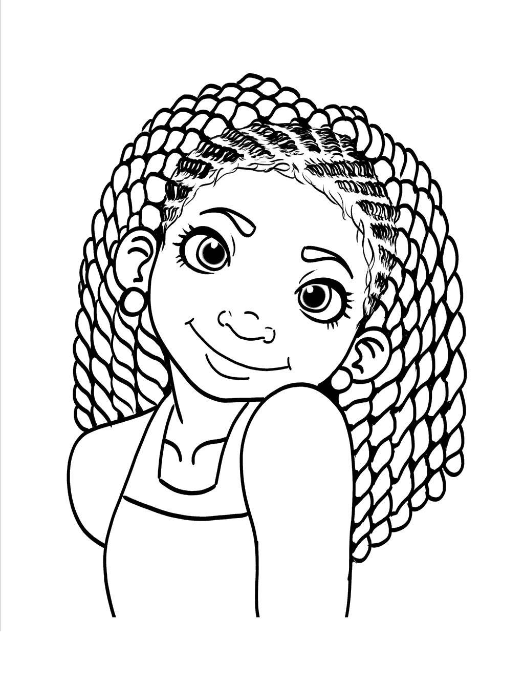 Free African Black Girl Coloring Pages printable