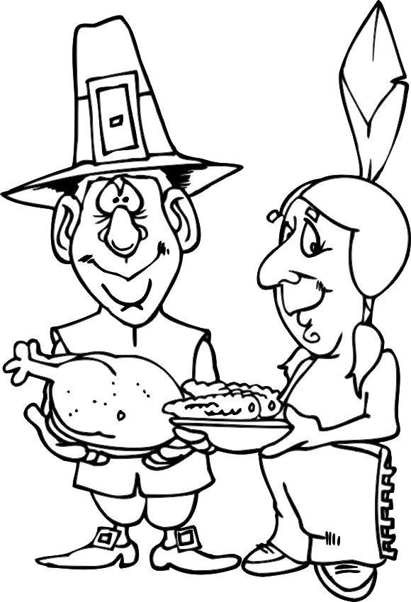 Cartoon Thanksgiving Food Coloring Pages - Free Printable ...