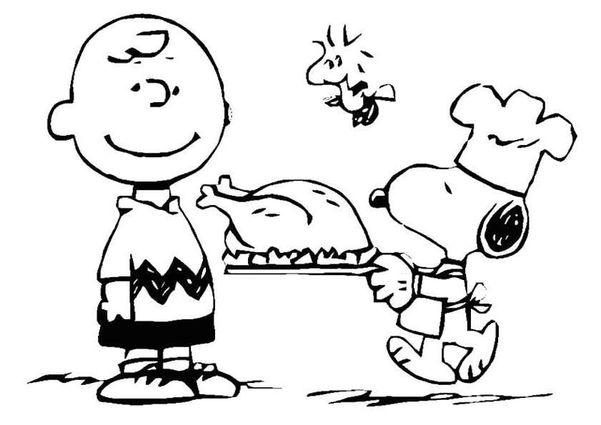 Free Charlie Brown Thanksgiving Coloring Pages Cooking Turkey printable